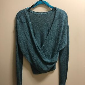Twist Back Teal Forever 21 Knit Sweater